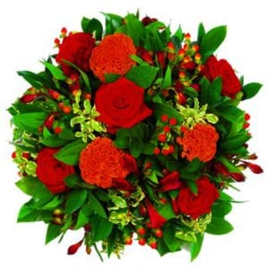 arena flowers funeral red rose posy